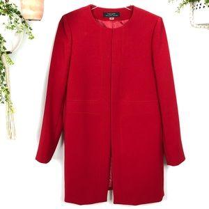 Gorgeous Tahari Bright Red Long Jacket Sz 6